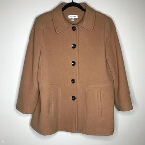 Preston & York Tan wool Pea Coat Sz 12